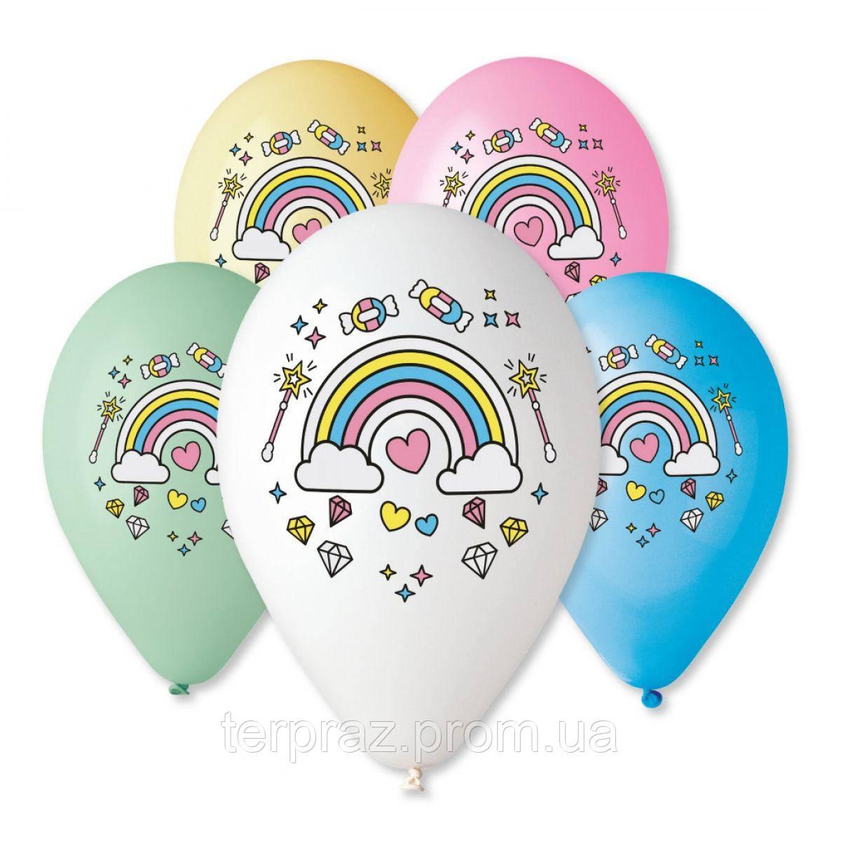 """Латексные шары круглые с рисунком  шар 12"""" с рисунком единорог радуга 5цв/ит"""