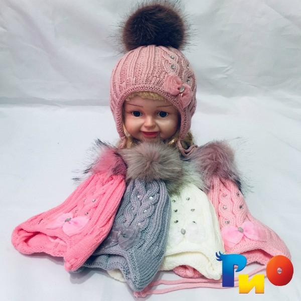 Детская вязанная шапочка на флисе, для девочек р-р 48-50 (5 ед в уп) NA_56100