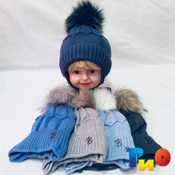 Детская вязаная шапочка на флисе, для мальчиков р-р 48-50 (5 ед в уп) NA_5890