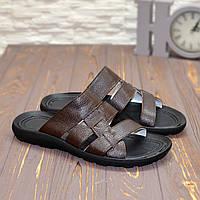 Шлепанцы мужские кожаные, коричневого цвета. 41 размер