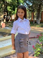Стильная детская юбка в школу , фото 1