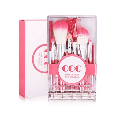 CORINGCO Make up Brush Pink Collection Набор профессиональных кистей (9 шт)