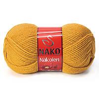Пряжа Nako Nakolen 1808 шафран (нитки для вязания Нако Наколен) полушерсть 49% шерсть, 51% акрил