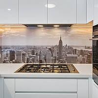Стеклянный фартук на кухне с изображением города. Изготовление в Днепре. 1