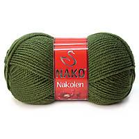 Пряжа Nako Nakolen 1902 зеленый (нитки для вязания Нако Наколен) полушерсть 49% шерсть, 51% акрил