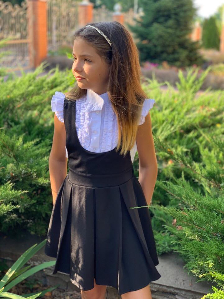"""Детский школьный сарафан на лямках """"Кристина"""" с расклешенной юбкой (2 цвета)"""