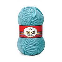 Пряжа Nako Nakolen 2837 азур (нитки для вязания Нако Наколен) полушерсть 49% шерсть, 51% акрил