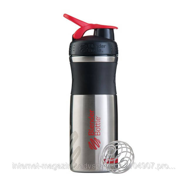 Blender Bottle, Спортивный шейкер BlenderBottle SportMixer Stainless Steel Red, 770 мл
