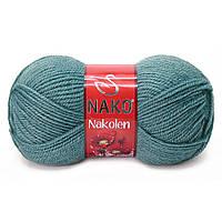 Пряжа Nako Nakolen 2978 лазурный (нитки для вязания Нако Наколен) полушерсть 49% шерсть, 51% акрил