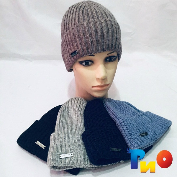 Детская вязанная шапочка на флисе, для мальчиков р-р 52-54 (5 ед в уп) NA_6175