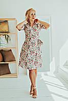 Женское элегантное платье в мелкие розы размер 42-52