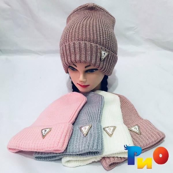 Детская вязанная шапочка на флисе, для девочек р-р 52-54 (5 ед в уп) NA_6183125