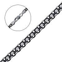 Серебряная чернёная цепочка плетение бисмарк 450