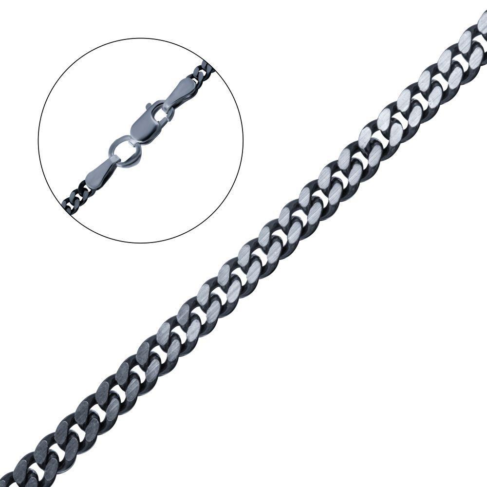 Панцирная черненая серебряная цепочка 450