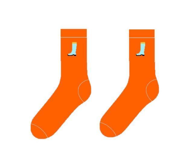 "Яркие оранжевые носки ""Сапог"". ТМ SOX"