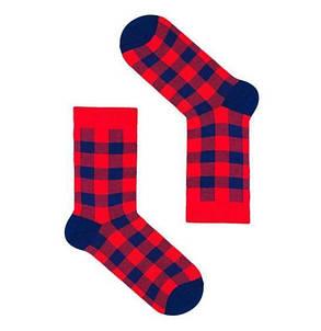 Красные носки в синюю клетку. ТМ SOX, фото 2