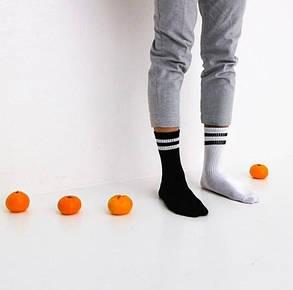 Черные носки-гетры с белыми полосками. ТМ SOX, фото 2