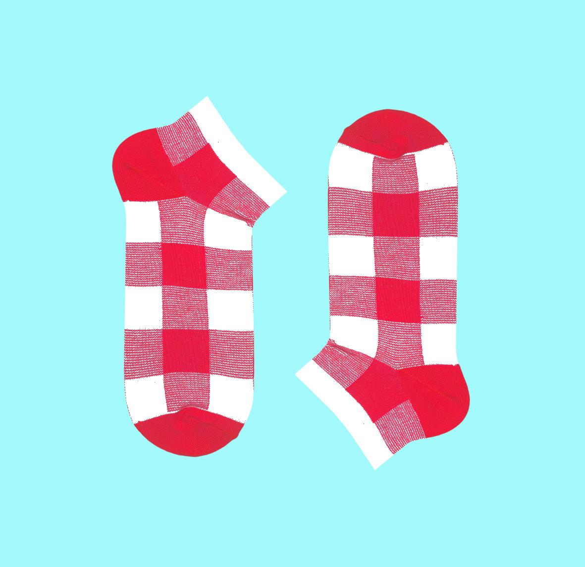 Короткие носки в клетку PINK-BEIGE TARTAN