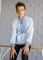 """Рубашка вышиванка для мальчика """"Капрал"""" (синяя) 116-152"""