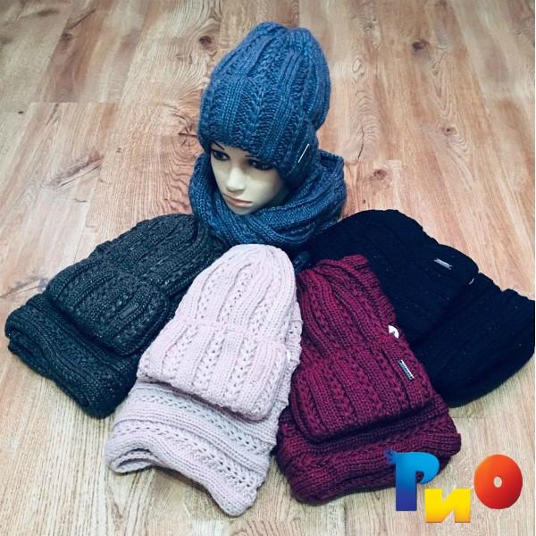 Детская вязаная шапочка с хомутом, на флисе, для девочек р-р 54-56 (5 ед в уп) NA_303240