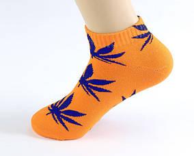 Оранжевые короткие носки HUF с синим листом конопли ОРИГИНАЛ (Хаф) Низкие (Шкарпетки Жіночі / Чоловічі)