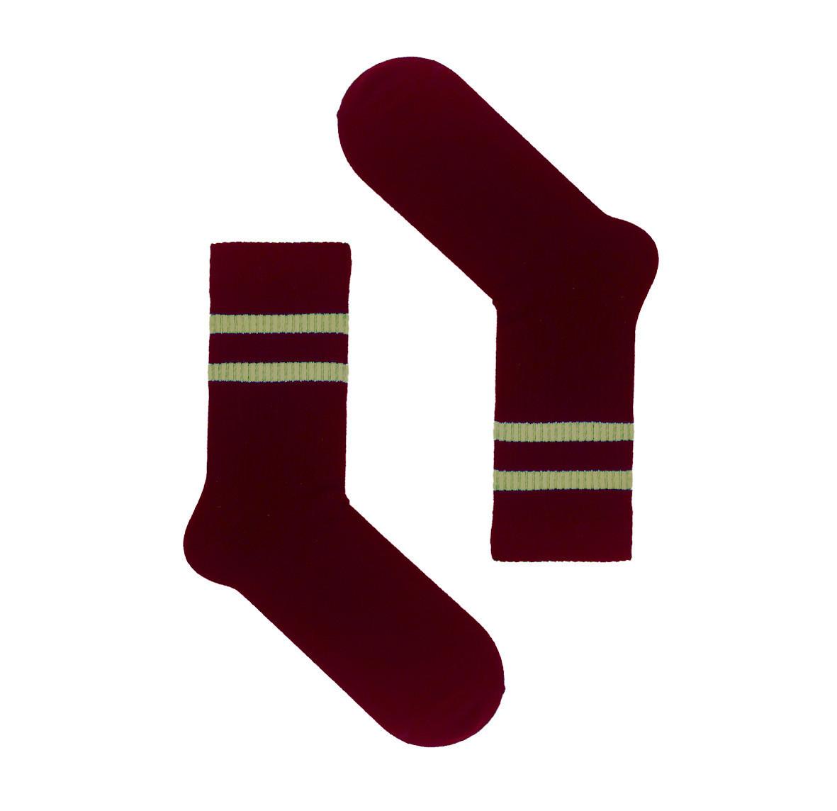 ВЫСОКИЕ носки бордового цвета с хаки полосками