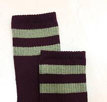 ВЫСОКИЕ носки бордового цвета с хаки полосками, фото 2