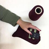 ВЫСОКИЕ носки бордового цвета с хаки полосками, фото 3