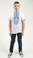 Вышиванка для мальчика Градиент белая с голубой вышивкой  короткий рукав хлопок р 28,32