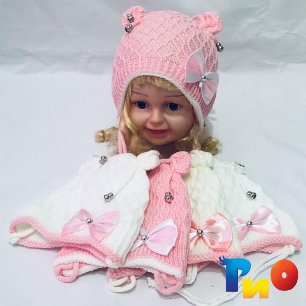 Детская вязанная шапочка на тонком флисе, для девочек р-р 40-42 (5 ед в уп) NA_5380