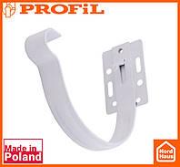 Водосточная пластиковая система PROFIL 90/75 (ПРОФИЛ ВОДОСТОК). Держатель желоба малый метал 90, белого цвета