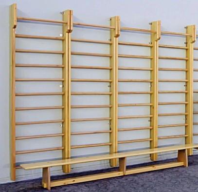 Шведська стінка дерев'яна 2800х1000 з верхнім турником