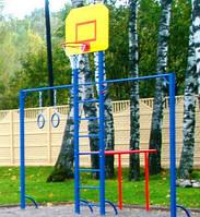 Спортивный комплекс: турник, шведская стенка, брусья, кольца гимнастические, баскетбольный щит с простой корзиной и сеткой