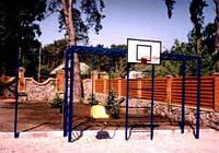 Спортивный детский комплекс: 2-х уровневый турник, рукоход, качеля, шведская стенка, баскетбольный щит с простой корзиной и сеткой