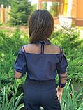 Школьная блузка белая и синяя длинный рукав школьная форма размер: 128,134,140,146, фото 4