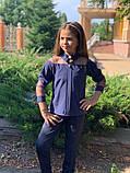 Школьная блузка белая и синяя длинный рукав школьная форма размер: 128,134,140,146, фото 2