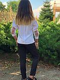 Школьная блузка белая и синяя длинный рукав школьная форма размер: 128,134,140,146, фото 6