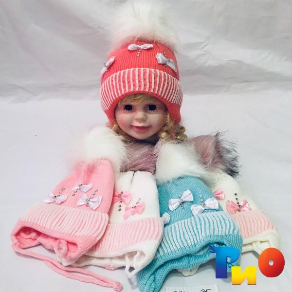 Детская вязанная шапочка на флисе, для девочек р-р 36-40 (5 ед в уп) NA_713385