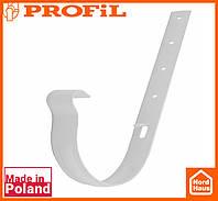 Водосточная пластиковая система PROFIL 90/75 (ПРОФИЛ ВОДОСТОК). Держатель желоба метал 90, белого цвета
