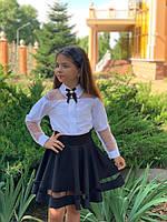 Школьная блузка белая и синяя длинный рукав школьная форма размер: 128,134,140,146