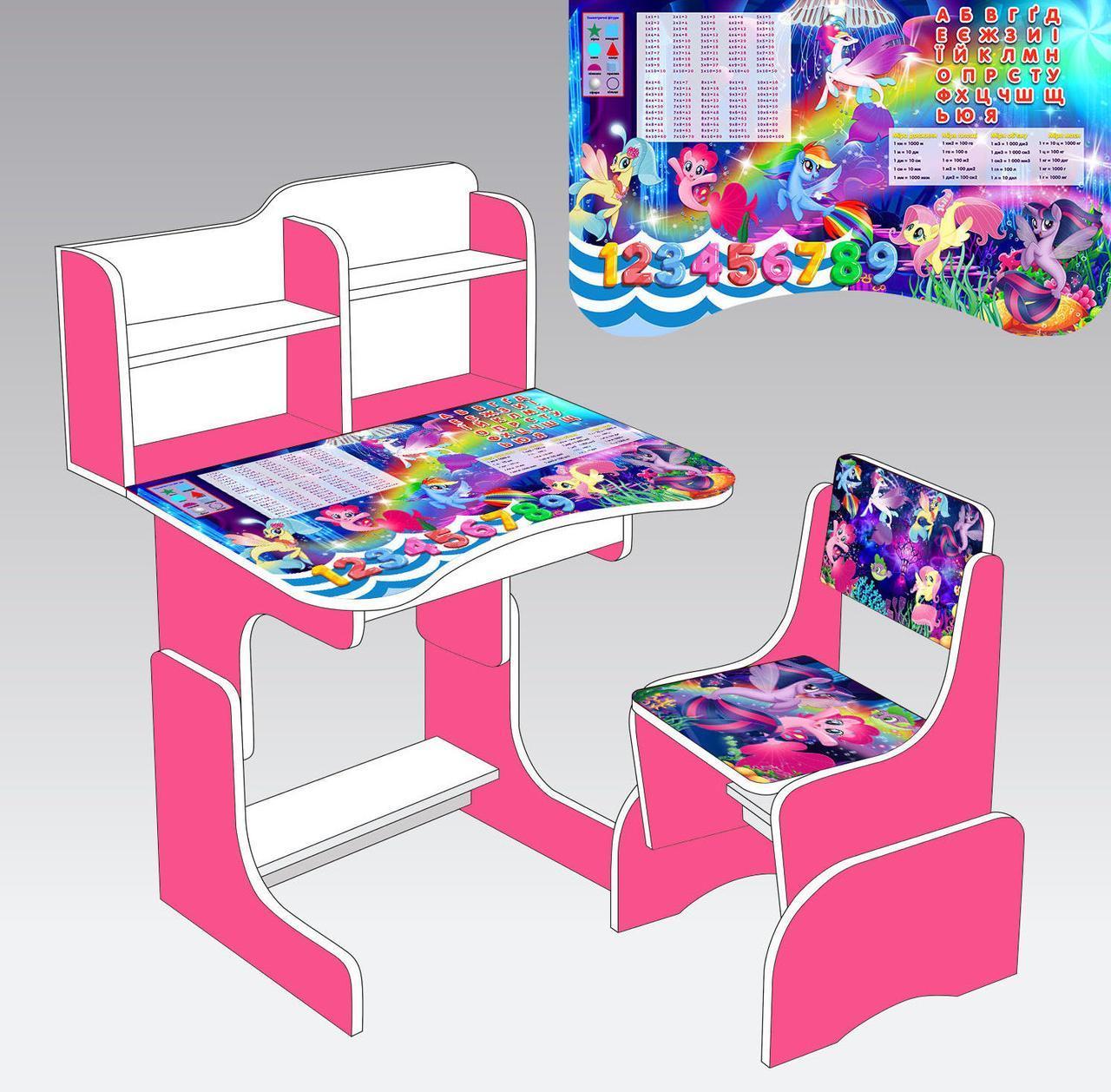 """Парта шкільна """"Принцеса Софія"""" ЛДСП ПШ 011 (1) 69*45 див., колір фіолетовий, + 1 стілець"""