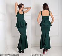 Вечернее платье футляр с открытой спиной и воланом  на талии  Andrea