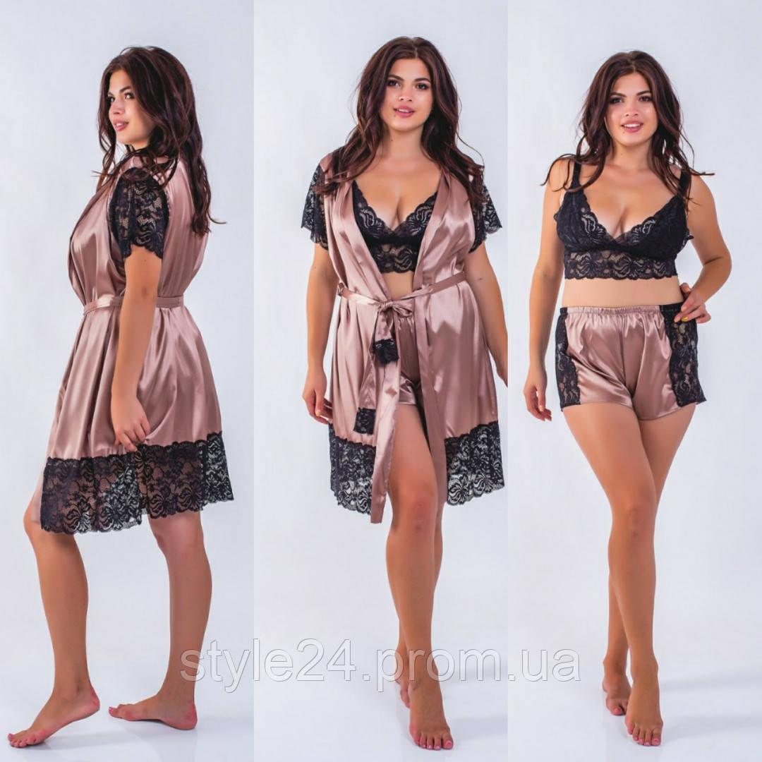 Шикарний жіночий набір:кружевний топ ,шорти і халат, 5 кольорів .Р-ри 42-54