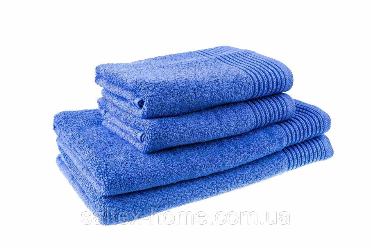 Махровое полотенце для лица 50х90см, Индия, 400 г/м, синего цвета