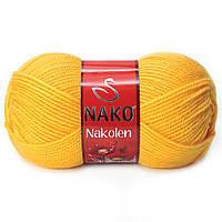 Пряжа Nako Nakolen 3052 желтый (нитки для вязания Нако Наколен) полушерсть 49% шерсть, 51% акрил