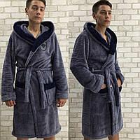 Чоловічий   махровий халат з поясом, 2 кольори .Р-ри  48-52, фото 1