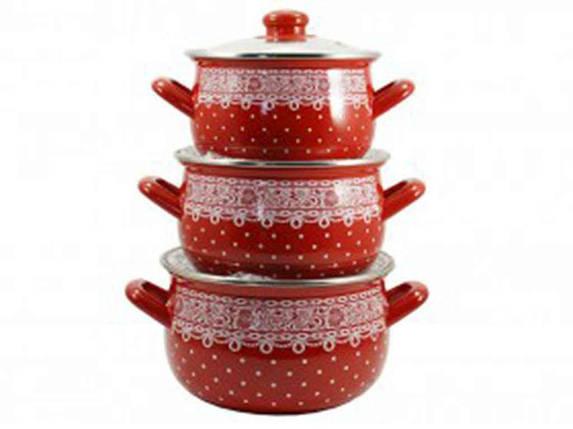 """Набор эмалированной посуды 3 предмета Ситец """"Interos"""", фото 2"""