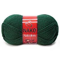Пряжа Nako Nakolen 3601 бутылочный (нитки для вязания Нако Наколен) полушерсть 49% шерсть, 51% акрил