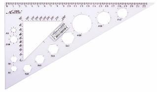 Треугольник прозрачный с транспортиром Атлас 22 см. К-9040