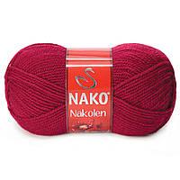 Пряжа Nako Nakolen 3630 бордо (нитки для вязания Нако Наколен) полушерсть 49% шерсть, 51% акрил
